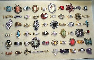 Lot of 60 RINGS Lot Cocktail/Costume Vintage to Modern GREAT SHAPE! NR