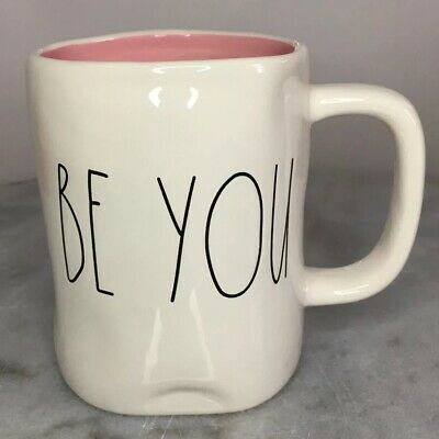New Rae Dunn Valentine's Day 2018 BE YOU Large Letter LL Pink w/ Dimples Mug