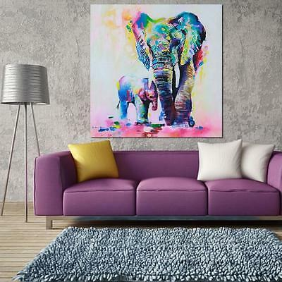 Modern Elephant Abstract  Canvas Hand-Painted Oil Painting Home Wall Decor shan