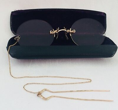 ANTIQUE GOLD Tone / Filled? AO FITS-U PINCE NEZ Spectacles +Hairpin Chain & Case