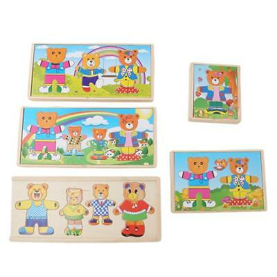 Change Clothes Bear Puzzle Building Block Early Wooden Jigsaw Gift Toys Shan