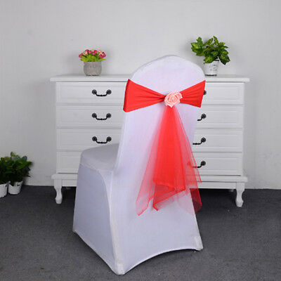 Various Color Spandex Sashes Rose Ball Artifical Flower Organza Chair Bow Shan