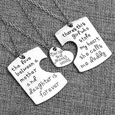 Daddy's Girl Mamas World Heart Design Letter Engrave Matching Neck Chain Shan