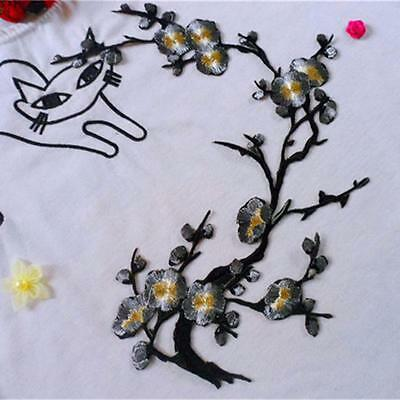 Plum Blossom Applique Clothing Embroidery Patch Sticker Iron On Sew Cloth shan