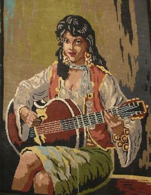 "vintage completed cotton needlepoint tapestry woman playing a guitar 20""x28"""