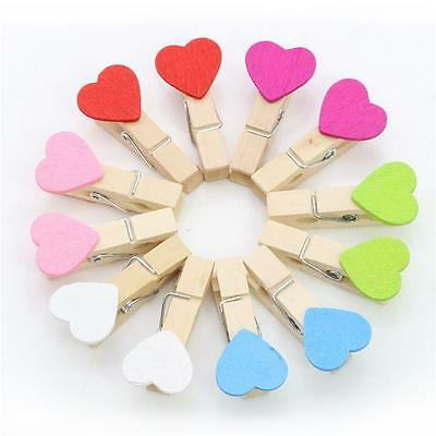 10pcs Mini Heart Love Wooden Photo Paper Peg Pin Stationery Craft Clips Shan
