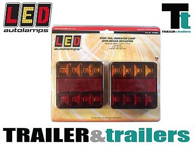 2X Led Combination Trailer Square Tail Lights-12 Volt Lights -Led Autolamps