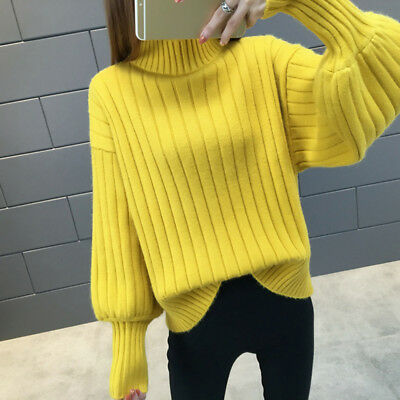 Simple Lantern Sleeve Sweater And Pullover For Women Autumn Winter shan