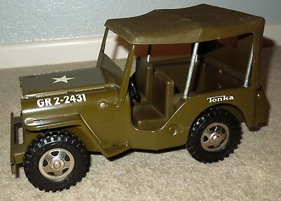 Vintage 1960's Pressed Steel Tonka Toys WW2 US Army Willys Jeep, GR2-2431, NICE!