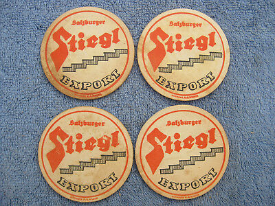 LOT of 4 European VINTAGE BEER COASTERS Stiegl Export - Small Size
