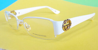 GUCCI Women's Frame Glasses GG2844 WHITE 135 Stainless Steel MADE IN ITALY - New