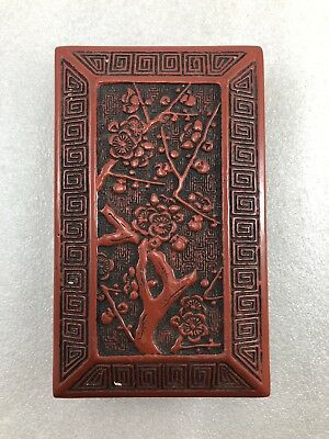 #L Asian Chinese Japanese Red Cinnabar ink stone case Plum Tree