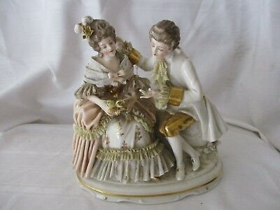 Vintage Dresden courting Couple figurine white pink gold lace