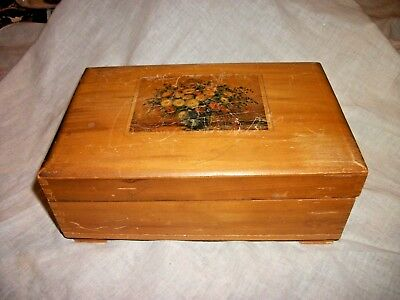 Old Vintage Wood Hinged Box Floral Lid Dovetail Construction Jewelry - Treasures