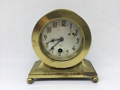 Antique Brass Clock Made By Cross Brass Ship Clock Style (As Found) Parts