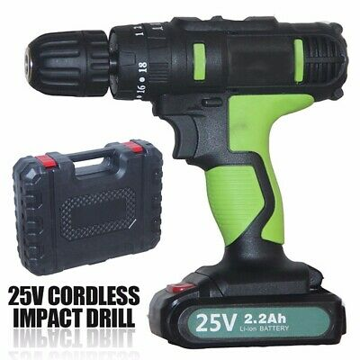 25V 3/8'' Electric Cordless Impact Drill Screwdriver 2 Speed Li-ion Battery AU