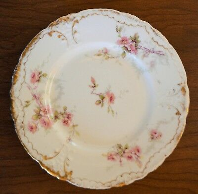 """Haviland Limogue Schleiger 141D Bread & Butter Plate 6 3/8"""" pink & yellow roses"""