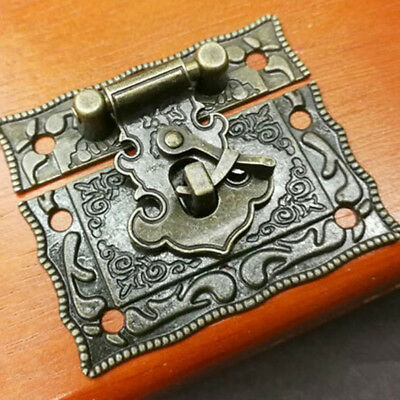 Chinese Styles Bronze Tone Antique Right Latch Hook Hasp Horn Lock Wood Box Shan