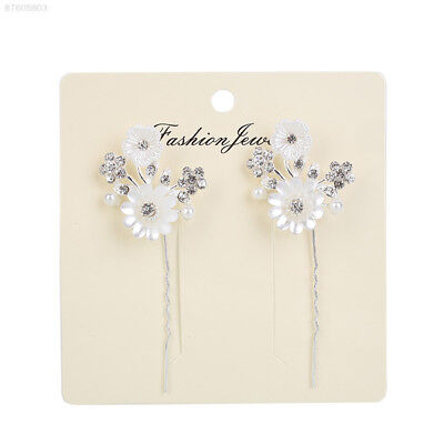 2C15 1Pair Sweet Girl Women Handmade Diamante Rhinestone Pearl Flower Hair Pins