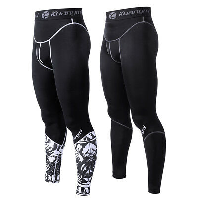 Kuangmi Compression Pants Fitness Running Training Tights Sports Workout Mens