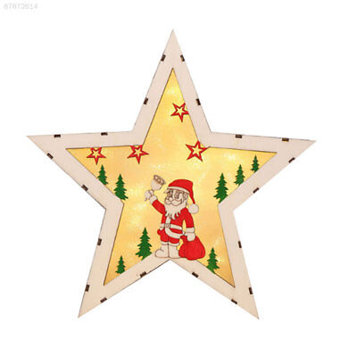 2D74 2019 Santa Claus Wooden Stars Indoor LED Plaque Sign Christmas Light Party