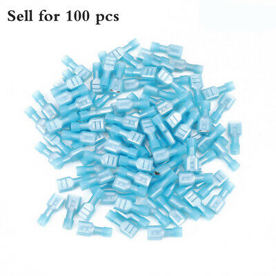 100x Blue Fully Insulated Female Electrical Wire Spade Crimp Connector Termina