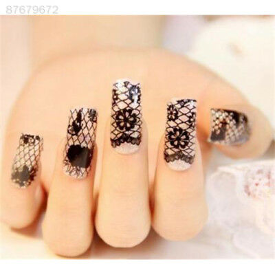 EC66 Vogue Black Lace Flower Transfer Stickers Manicure Tips Decals Nail Art DIY