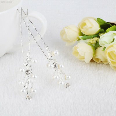 5505 Pair Wedding Bridal Bridesmaid Pearl Rhinestone Crystal Hair Pins Clip