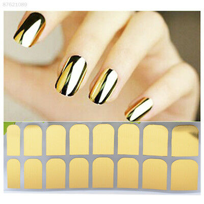6E0D 16pcs Smooth Metal Gold Nail Art Sticker Lightning Style Manicure Beauty