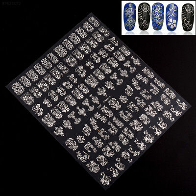 7B6B Hot New Fashion Lady 108pcs 3D Silver Flower Nail Stickers Decals DIY