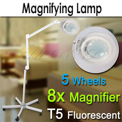 Magnifying Lamp Light Glass Lens Beauty Round Head 5 Wheels Stand 8x Magnifier