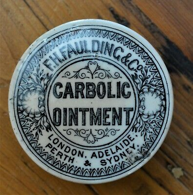 F.H.Faulding Carbolic Ointment Pot Lid London Adelaide Perth Sydney