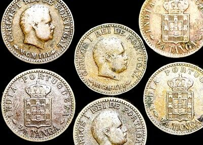 Twelve (12)  Portuguese India Carlos I  1/8 Tanga Coins VG Dated 1901 or 1903