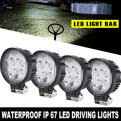 "4PCS 4"" inch 27W Round SPOT LED Work Light Fog Lamp Offroad Driving SUV UTE 4WD"