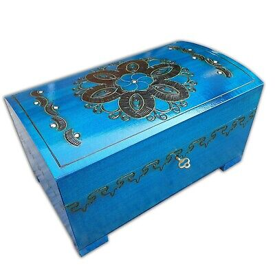 Wooden Large Jewellery Chest In Blue Color Lock And Key, Model 1