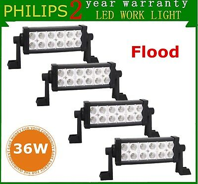 4Pcs 8Inch 36W LED Work Light Truck Jeep 4WD Off Road Driving Flood Lamp Philips