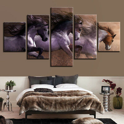 Wall Art Modular HD Prints Pictures 5P Animal Horses Race Posters Home Decor