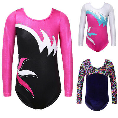 Kid Toddler Gymnastics Leotards 3-14Y Girls' Long Sleeve Ballet Jumpsuit Stretch
