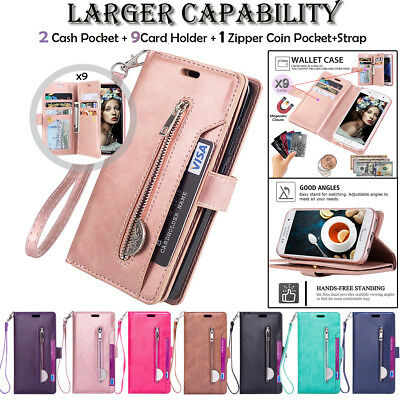 For Samsung Galaxy S7 Edge Note 9 PU Leather Zipper Wallet Flip Stand Case Cover