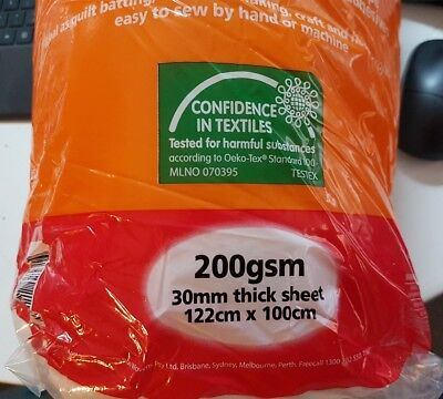 Tontine Polyester Wadding 200gsm 30mm x 100cm x 122cm - as new condition