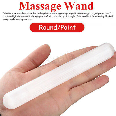 6''-7'' Natural Selenite Polished Wand Round Point Reiki Chakra Crystal Healing