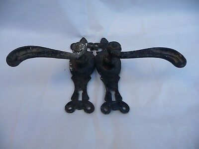 Vintage Pair black Iron Handles Sprung loaded With Key Hole architectural