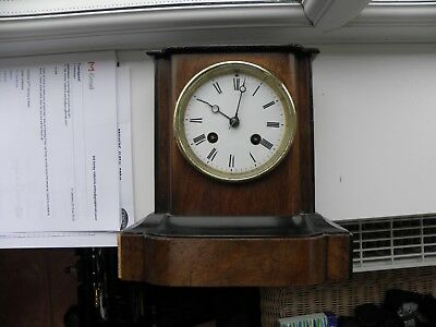 Vintage  French Wooden case Mantle Clock   For Restoration  Spare Or repair