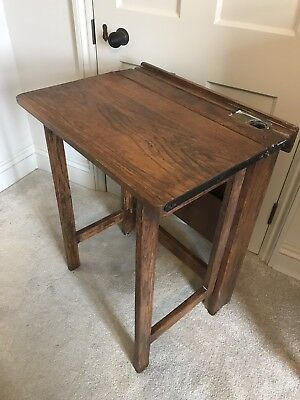 Antique Old School Desk - Folding And Ink Well