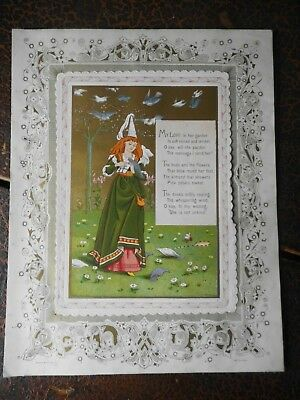FINE VERY LARGE VICTORIAN VALENTINES CARD, KATE GREENAWAY MARCUS WARD  c1880