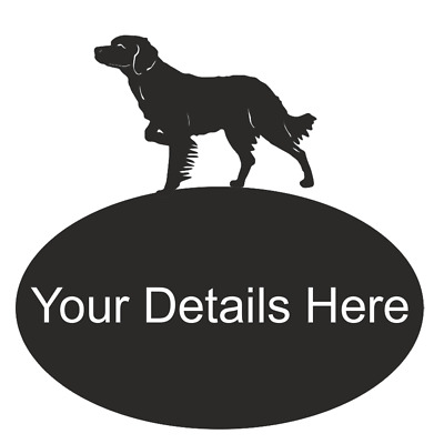 Brittany Spaniel Dog Metal Oval House Plaque