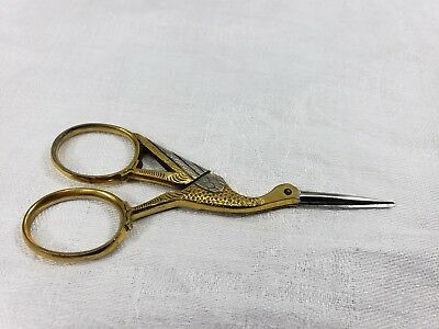 """Vintage Embroidery Stork Sewing Scissors: marked Germany Cutiecut  3½"""""""