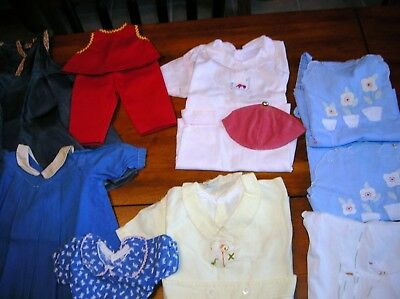 Vintage Lot Baby Doll Clothes Hand Made Lots Of Details 1950's Clean Girls Boys