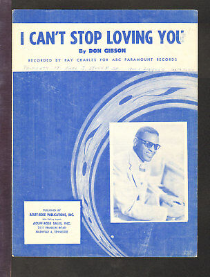 I Can't Stop Loving You 1962 RAY CHARLES Vintage Sheet Music