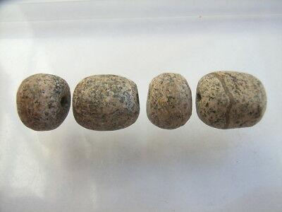 4 Ancient Paleolithic Bone, Mammoth Beads, Stone Age VERY RARE!  TOP !!